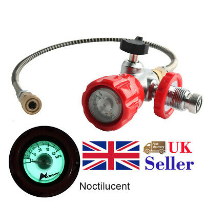 Red Valve Gauge Thread G5/8 With Hose For Air Tank PCP Air Filling Station UK