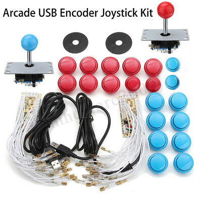 Arcade DIY Kits Parts 2 USB Encoder + 2 Joystick + 20Pcs Buttons For PC MAME  !