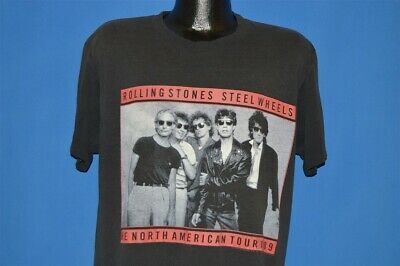 vintage 80s ROLLING STONES STEEL WHEELS NORTH AMERICAN TOUR 1989 t-shirt LARGE L