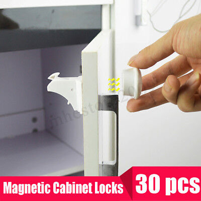 30PCS Magnetic Cabinet Drawer Cupboard Locks for Baby Kids Safety Child Proofing