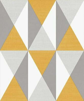 Exclusive 3d effect Gold Geometric Triangles Vinyle Wallpaper 360103