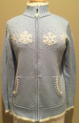 Quacker Factory Zip Front Snowflake White Tipped Cardigan Sweater Pale Blue Sz S