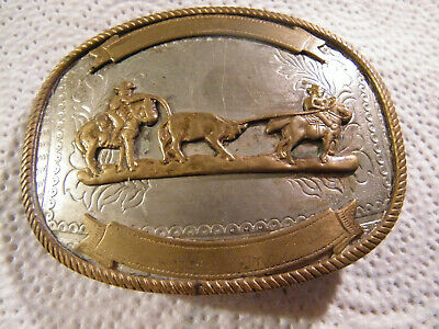Vintage Western Cowboy Team Roping Silver/brass Buckle Bear Paw Horse Ranch 4""