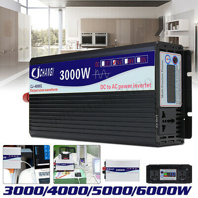 3000-6000W LCD Car Power Inverter DC 12V/24V To AC 220V Pure Sine Wave