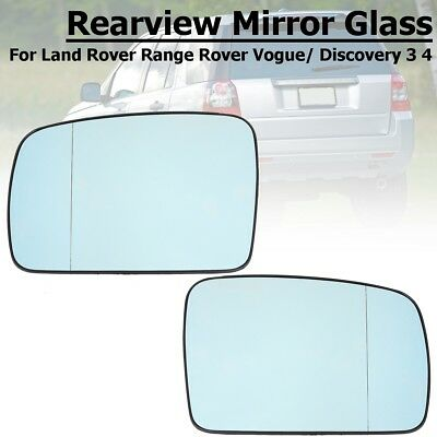 For LR2 LR3 Range Rover 04-09 Right Side Heated Door Blue Mirror Glass w// Plate