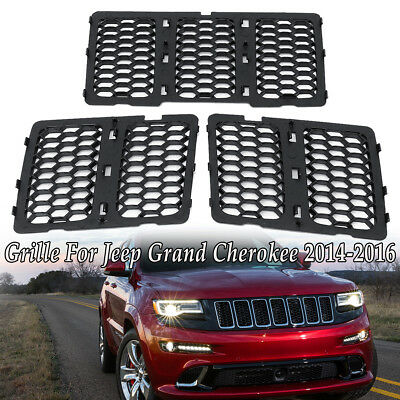 Front Honeycomb Matte Black Mesh Grille Inserts For Jeep Grand Cherokee 2014-16