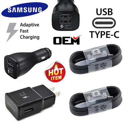 OEM Samsung Galaxy S8 S9 S10 Plus Note 9 Fast Car Charger Wall Plug Type-C Cable