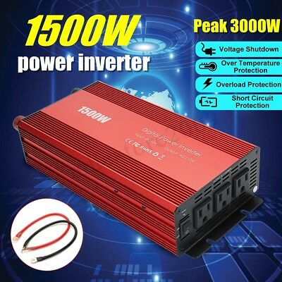 1500W/3000W Car Power Inverter DC 12V to AC 110V Modified Sine Wave Converter