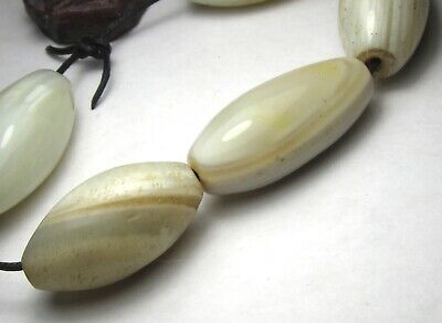5 Rare Large Stunning Ancient Oval Banded Agate Eye Mali Beads @