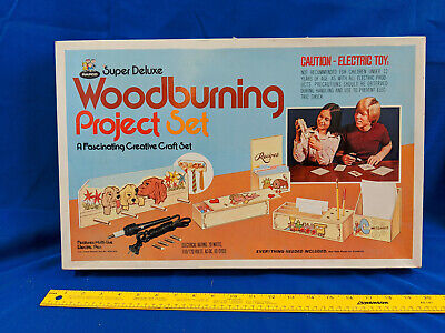 Rapco 70s Unsafe Toy Woodburning Project Set VTG Box Super Deluxe Wood-Burning
