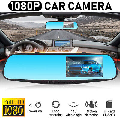 3.5'' 1080P HD Dual Lens Car DVR Rearview Mirror Dash Cam Recorder Camera Kits