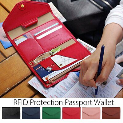 RFID Travel Trip Secure Blocking Leather Passport Wallet Holder Cards Case Cover