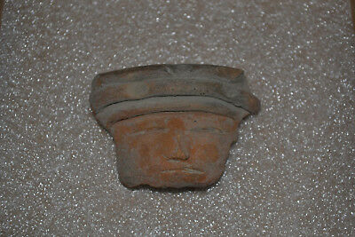 Pre-Columbian Colima Tarascan Clay Pottery Face Artifact Sculpture