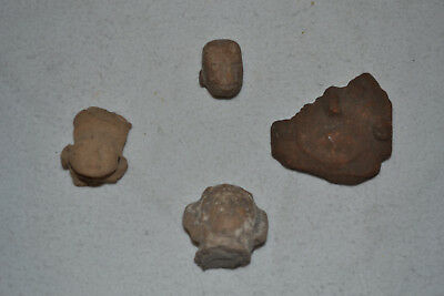 Pre-Columbian Colima Tarascan Clay Pottery Lot of 4 Head Face Artifact Sculpture