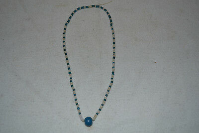 Native American Indian Trade Bead Necklace Blue & White Beads Blue Ball Pendant