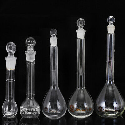 5-250ML Clear Glass Volumetric Flask Beakers Borosilicate Lab Glass Round Bottom