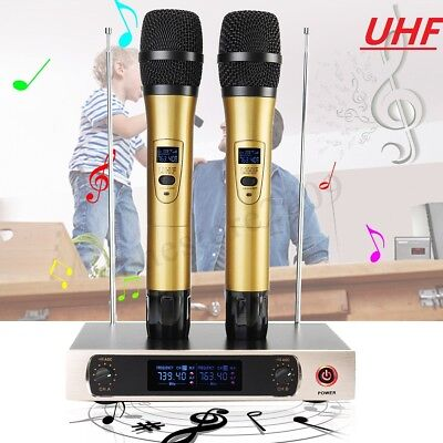 Pro UHF Wireless 2 Channel Dual Handheld Microphone Mic System Party KTV
