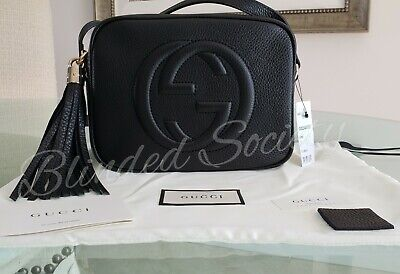 7fd6131b2843 $1,190 GUCCI SOHO Disco Black Leather Crossbody Bag Handbag NEW ...