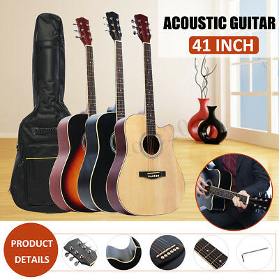 41 Inch Wooden Acoustic Guitar Basswood Classical Folk Full Size Music w/Bag