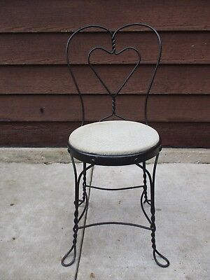 Antique Wrought Iron Twisted Metal Heart Ice Cream Parlor Chair Stool Seat 1 41 99 Picclick