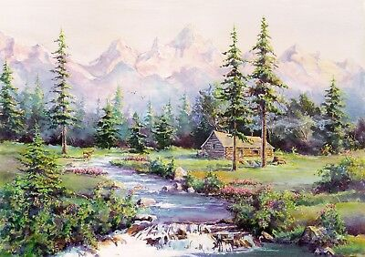 ACEO Limited Ed. MOUNTAIN LOG CABIN & STREAM by Sharon Sharpe!!!!
