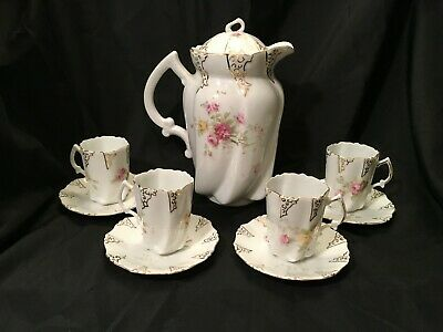 Beautiful 9pc Porcelain China Coffee (or Tea) Set with Floral Design