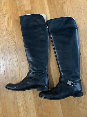 Coach Emmie A01550 Over The Knee Black Leather Boots w// 1//2 Zipper