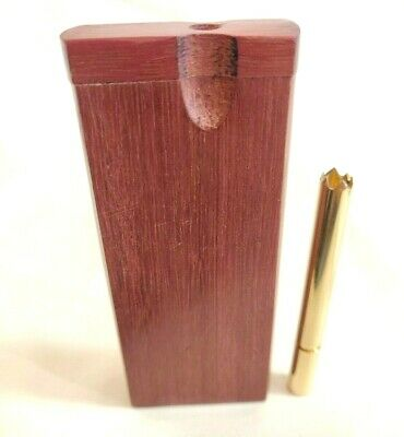 Brass One Hitter Pipe w/ Grinder Tip + Purpleheart Dugout Stash Box, Tobacco Box