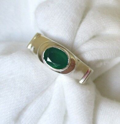 Emerald Wide Band Ring,  925 Silver. Unisex.  Ladies Size 7.  NWT