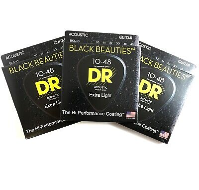 DR Guitar Strings Acoustic 3-Pack K3 Black Beauties Coated 10-48 Extra Light