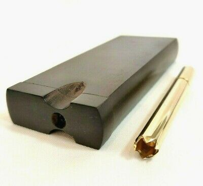 Brass One Hitter Pipe w/ Grinder Tip + Ebony Wood Dugout Stash Box, Tobacco Box
