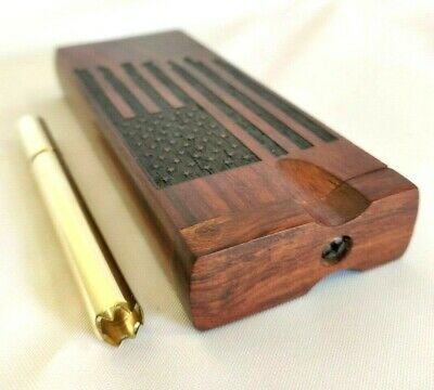 Rosewood AMERICAN FLAG Dugout w/ Brass One Hitter Pipe w/ Grinder Tip, Stash Box