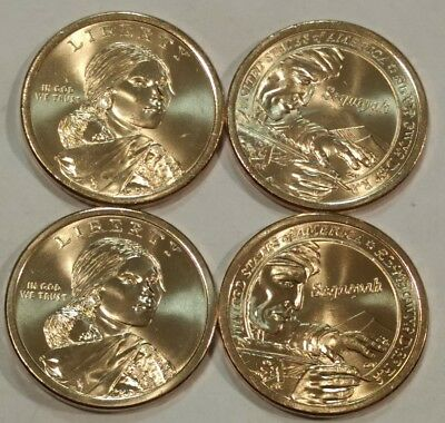 FOUR BU Sacagawea Native American dollar coins: 2017-P & 2017-D (types A & B)