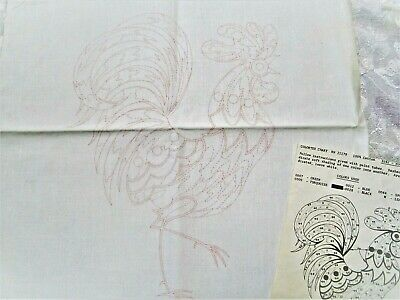 Vintage Rooster Pillow Stamped Embroider Throw Accent + backing Tri Chem Paint