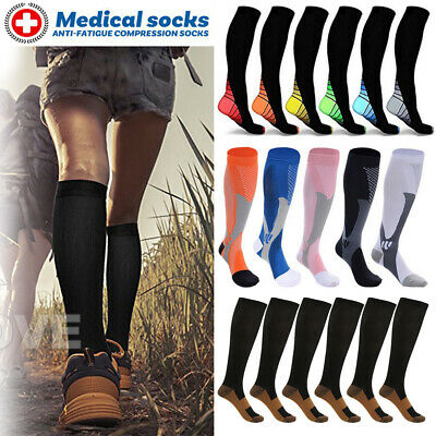 Unisex Copper Infused Anti-Fatigue Compression Socks Varicose Vein Travel Flight