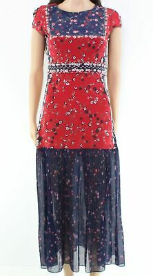 fc5b53e2e5 SALONI Red Women s Size 2 Floral Print Pleated A-Line Dress Silk  595-