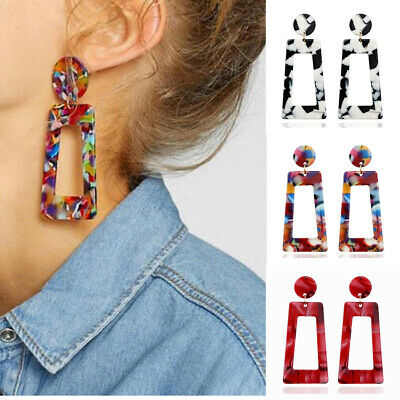 Women Boho Geometric Drop Dangle Hook Acrylic Resin Ear Stud Earrings Jewelry