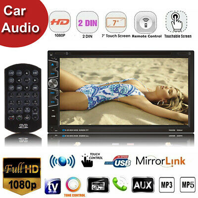 """7"""" 2 Din Touch Screen Car Audio MP5 Player Bluetooth Stereo FM Radio USB In-Dash"""