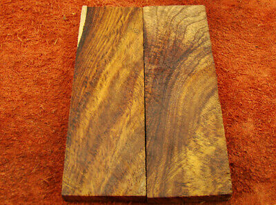 "5"" Pair of Burl Rose Wood Scales Knife Handle Making Blank Bush Crafts (500-47"