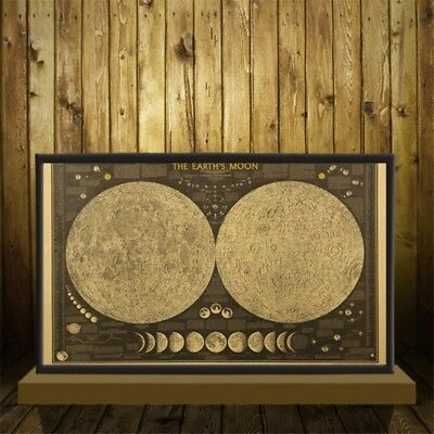 Vintage Paper Earth's Moon World Map Poster Wall Deacl Home Bedroom Decor R8U
