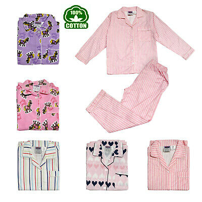 Children Girls 100% Cotton Flannelette Pyjamas Size 3 4 5 8 10 12 14