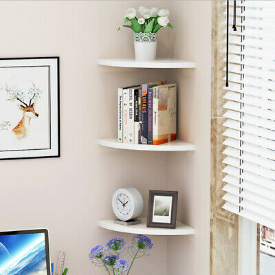 Set 3 White Floating Wall Mounted 3 Tier Decorative Shelf Floating Wooden Corner