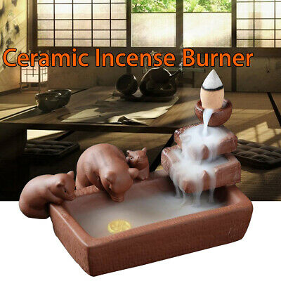 3 Pig Ceramic Backflow Incense Burner Smoke Cones Holder Sticks Censer Clay 2019