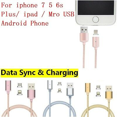 Braided USB Cable Data Sync Magnetic Adapter Charger for iPhone Samsung HTC