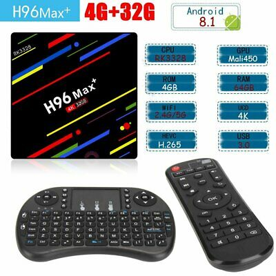 4GB/64GB H96 MAX Plus+ Android 8.1 Smart TV Box Quad Core USB3.0 WIFI + Keyboard