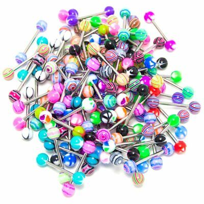 30 X Tongue Bars Surgical Steel Barbell Rings Mixed Ball Bar Piercing Jewellery
