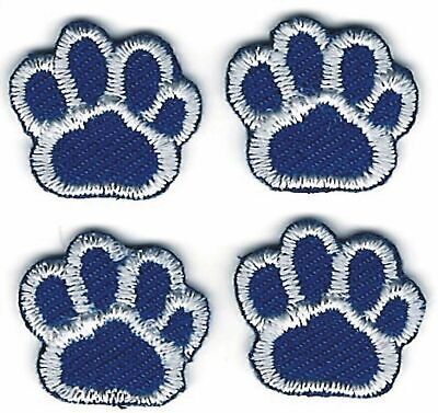 Lot of 4 Medium Blue Yellow Dog Animal Paw Print Embroidery Patch