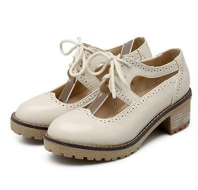 Womens Girls Pumps Lace Up Shoes PU Leather College Style Date Retro Casual Heel