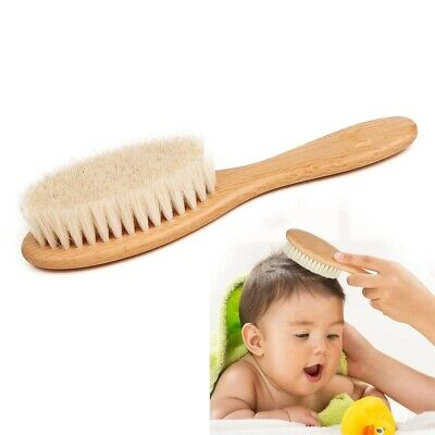 Newborn Baby Wooden Brush Comb w/Soft Goats Head Hair Bristles Clean Massager UK