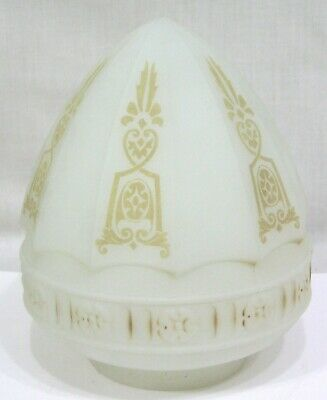 Vintage 1920s Acorn Ceiling Light Shade Art Deco Gold Geometrics  Frosted Glass